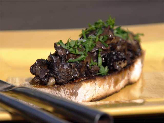 Sauteed field mushrooms on home baked sourdough toast