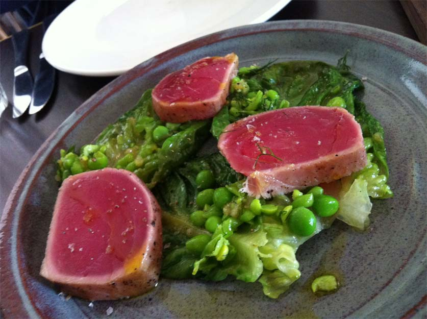 Yellow Fin Tuna Wilted Cos and Peas